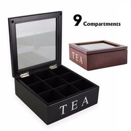 Chá dos casos on-line-Tea 9 Grades de madeira Box Kitchen organizador de vidro transparente tampa superior sacos de chá Caixa de armazenamento Container Praça Gift Box Caso 2 cores C19022701