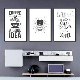 2019 kaffee leinwand bild Abstrakte minimalistische Kaffeebohnen Poster moderne Leinwand Kunst Küche Raum Dekor schwarz und weiß Zitate Kunst Wand Bild Home Decor günstig kaffee leinwand bild