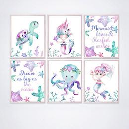 Tele di nursery online-Stampa Mermaid Canvas Poster Nursery Wall Art Acquerello Gli animali del mare Stella di mare della tartaruga Octopus pittura ragazze in camera Wall Art Decor