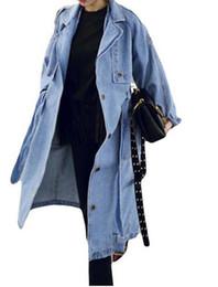 Casaco comprido de caxemira on-line-Primavera Outono Mulheres Casual Solto X-Longo Denim Trench Coat Feminino Macacão Jeans Plus Size Cintura Ajustável Denim Casaco