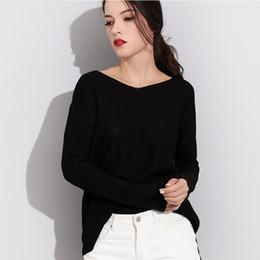 Femmes chandails et pulls à long tricotés femme pull col V tricots à manches longues Jersey hors épaule chandails Pull ? partir de fabricateur