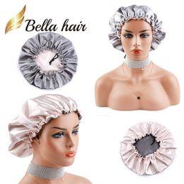 Seda gris online-2019 Nueva llegada doble lado satinado gorra para cuidar el cabello rosa / gris de seda noche dormir gorra para mujeres niñas Lady