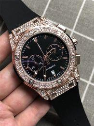 bracelet en caoutchouc Promotion Célèbre Marque Big Bang Mens Montre De Luxe Tous Cadran Travail Quartz Mouvement Brillant Diamant Chrono Montre Bracelet En Caoutchouc Mâle Horloge Sport Montre