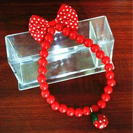 2019 glockenperlen 2019 Haustier Hund Katze Schmuck Perlen Halskette Strawberry Bell Bowknot Red Acryl Kragen Pet Products Dog Supplies günstig glockenperlen