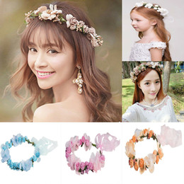 flower girl floral headpieces Coupons - New Style Women Hairband Girl Crown Floral Rose Flower Headband Hairband Wedding Hair Garland Headpiece Patchwork Hot 2019