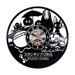 2019 panneau marcheur Studio Ghibli Enfants Horloge Murale Design Moderne Décoratif Enfants Chambre de Bande Dessinée Vinyle Record Horloges Mur Montre Home Decor Silent