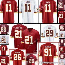 2019 roseau rouge Redskins # 11 Maillot Sean Taylor Alex Smith 21 29 29 Derrius Guice 86 Reed cousu Maillots de foot Rouge Blanc roseau rouge pas cher