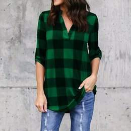 green plaid women s shirt Promo Codes - Fashion-Women Plaid Shirts Plus Size S- 5XL Casual Blouse V Neck Folds Poose Single-breasted European Half Sleeve Fashion Tops