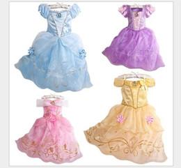 Meninas belle trajes on-line-2020 Vestido para Rapunzel partido do traje Crianças casamento traje vestido Crianças Meninas Princess Dress Belle Dormir traje Aurora Beleza