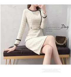 Vestidos de lã vintage on-line-Novo vestido de tweed mulheres primavera vintage xadrez vestidos de lã feminino elegante vestido de lã senhoras escritório