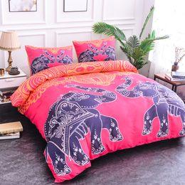juegos de cama de elefante de algodón Rebajas Moda Sistemas del lecho Textiles para el hogar elefante algodón Patrón juego de cama Ropa de cama Con la hoja de cama de edredón funda de almohada KQjiafang