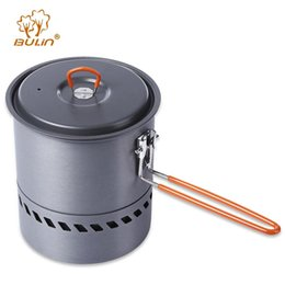 BULin Hiking Picnic Tableware Aluminum Camping Pot Pan Corrosion Resistant Backpacking Outdoor Cookware with Brush Pouch