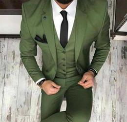 Синие мужские блейзеры онлайн-Новый 2019 мужской смокинг Oilve зеленый синий свадебный костюм из 3-х частей Slim Fit Notch Blazer Классический смокинг Groomsmen Для партийных костюмов (пиджак + жилет + брюки)