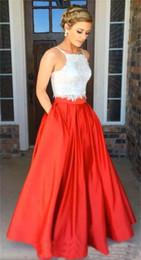 13665128c Barato Modesto Dos piezas Blanco Rojo encaje satinado Vestidos de fiesta  Fiesta de noche Vestido de fiesta con bolsillo Vestidos de talla grande