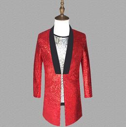 красный костюм с блестками Скидка Красные блестки блейзер мужчины длинные костюмы дизайн куртка мужские сценические костюмы для певцов одежда танец звезда стиль платье панк мужское начало