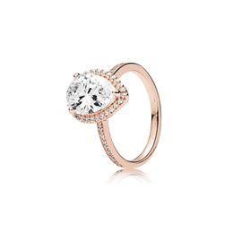 Gold reißen online-18 Karat Roségold Tear drop CZ Diamant RING Original Box für Pandora 925 Sterling Silber Ringe Set für Frauen Hochzeitsgeschenk Schmuck