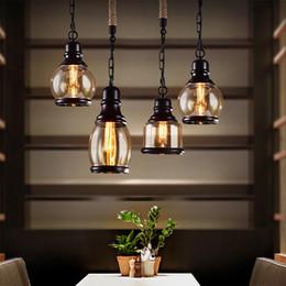 Lámparas de estilo industrial online-Lámpara colgante Loft vintage Estilo industrial Lámpara de vidrio ámbar Barra / Restaurante Barra de habitación retro Lámpara colgante de 3 estilos