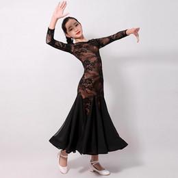 2019 vestidos para bailes estandar kid de encaje negro vestido de vestidos de competencia de salón de baile de salón rojas bailan vals vestidos de vestir estándar para las niñas vestidos para bailes estandar baratos