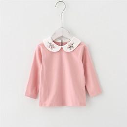 2019 chemise en gros de cerise T-shirt fille vente en gros 2019 automne base de collier de cerise vêtements pour enfants promotion chemise en gros de cerise