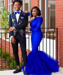 2019 una manga de spandex vestidos negros Sexy Plus Size African Black Girl Royal Blue Mermaid Prom Dresses 2020 Un hombro Manga larga Musulmán Dubai Árabe Vestido formal de noche una manga de spandex vestidos negros baratos