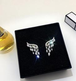 Роскошные цирконовые крылья ангела серьги фея бабочка супер флэш сексуальный дикий темперамент серьги серьги битник личности от