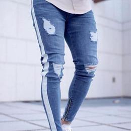 più jeans designer di dimensioni Sconti Jeans strappati jeans stretch da uomo design blu skinny slim fit per ragazzi taglie forti hip hop