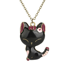 vintage cat necklace Promo Codes - Women Statement Vintage Black Cat Kitten Pendant Chain Necklace collier Female Jewelry Shellhard Cute Cartoon Cat Sweater Chain