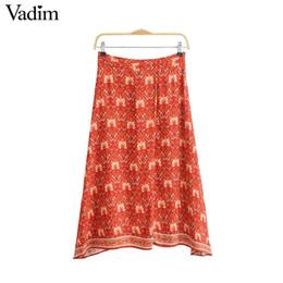 Atacado mulheres chique padrão floral midi saia faldas mujer zipper vintage feminino desgaste ocasional básico meados de bezerro saias BA343 de