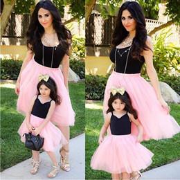 Línea de vestir madre hijo online-Nueva moda entre padres e hijos Madre e hijos Niñas Casual Patchwork Una línea de vestido plisado Moda Nueva vestido casual