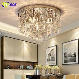 Illuminazione a soffitto tonda online-FUMAT Crystal K9 Lampade da soffitto trasparenti Moder Style Lighting Round Form E14 Dining Room Soggiorno Luxury Hanging Light Fixture