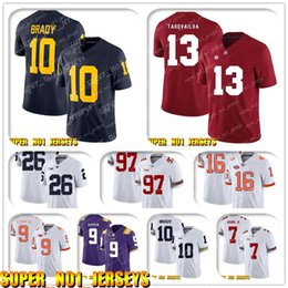 2020 calcio alabama 5-24 NCAA 10 Tom Brady 13 Tua Tagovailo Alabama Crimson Tide College Football Jersey Matthew Stafford Barry Sanders T.J. Hockenson calcio alabama economici