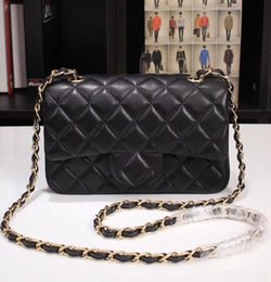 bolsas de embrague ocasionales Rebajas Paris moda mujer marca mini solapa 20 cm cruzada bolsa de cuerpo suave granulado cuero genuino Diamante acolchado bolso de hombro embragues casual pureses