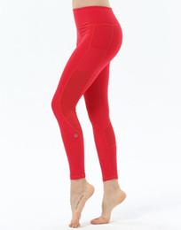 2019 pantalones relajados de yoga Pantalones de yoga rojos mujeres malla patchwork gimnasio leggings deporte fitness transpirable corriendo medias de compresión mujeres pantalones deportivos 2018