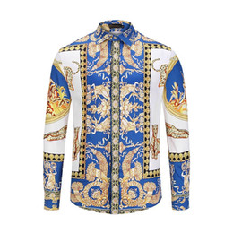 3d gold letters Promo Codes - Fashion Designer Slim Fit Shirts Medusa Men Luxury 3D Gold Floral Print Mens Dress Shirts Long Sleeved Business Casual Shirts Males Clothes