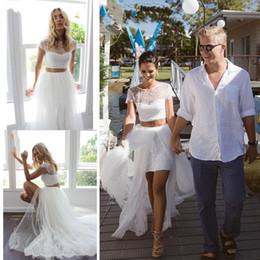 wedding dresses two slits Скидка Уникальные летние свадебные платья из двух частей Свадебное платье с короткими рукавами Тюль Кружева с высоким разрезом Короткие передние длинные спинки Дизайнерское свадебное платье