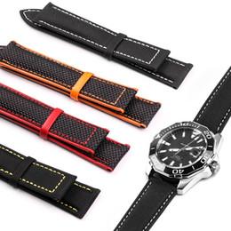 Rotem ledergewebe online-Uhrenarmband aus Leder mit Carvas-Gewebe aus Leder für Omega-Uhr 20mm 22mm Herrenriemen Kalbsleder Schwarz Orange Rot Gelb mit Werkzeug