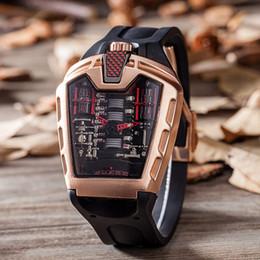 montres à large cadran Promotion Montre de crâne de visage de la mode des grands 2019 avec l'acier inoxydable frais élégant de bande de lien de bracelet