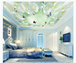 2019 céu azul fresco Personalizado 3D grande teto de seda mural foto papel de parede fresco flor de pera azul céu e nuvens brancas borboleta teto zenith mural desconto céu azul fresco