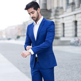 Cappotto di lana blu navy online-Estate Royal Blue Wool Blend Groom Tuxedo Uomo Abiti da sposa Groomsmen Blazer Traje Hombre Costume Homme 2Piec (Cappotto) Terno Masculino