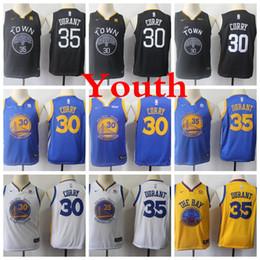2020 camisa dos meninos 13 2019 Crianças de OuroEstadoGuerreiros 30 StephenCurry Basketball Jerseys Juventude 35 Kevin Durant Preto Azul Meninos amarelas costuradas Shirts camisa dos meninos 13 barato