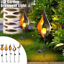 LED Flame Lamp Solar Ground Lights Impermeabile Lampada da giardino Garden Decor Outdoor Yard Scene Ornament Solar Powered Path Lights da decorazione del cortile principale fornitori