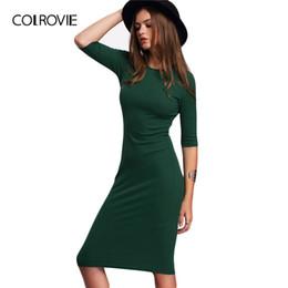 Colrecie Abiti da donna stile estivo Abiti aderenti Sexy Girocollo verde mezza manica mezza manica GMX190708 da