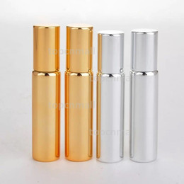 bottiglie all'ingrosso dell'olio di massaggio Sconti Profumo di fragranza della sfera del rullo del metallo dell'acciaio inossidabile dell'argento e dell'argento essenziale di 10ml UV Roll On Bottle