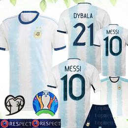 Jerseys uniformes argentina on-line-2020 CAMISA DO FUTEBOL 10 MESSI # 9 Agüero # 21 DYBALA uniformes de futebol Argentina de Futebol # 22 LAUTARO MASCHERANO Lautaro