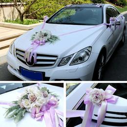 hochzeit auto dekoration gesetzt Rabatt Hochzeit Auto dekorative Blumen-Set Mehrfarben Simulieren Rose Dekoration Romantische West-Kirche Stil Hochzeit Home Decoration