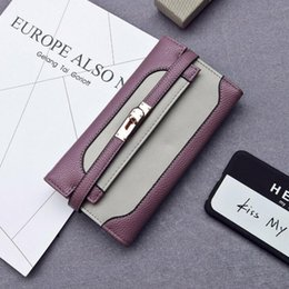efcfe4580 Factory wholesale brand women handbag commuter fashion leather clutch bag  personality contrast women long wallet new lock coin purse
