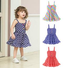 desenhos de vestidos listrados Desconto Vestidos das meninas do bebê Listrado Dot Vestido de Princesa Crianças Suspender Vestidos de Verão Meninas Roupas Roupas de Grife Roupas Para Crianças 3 Projetos YW2901