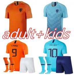 Футбол нидерланды футбол джерси прочь онлайн-2018 2019 новых Нидерландов В. Перси футбол Джерси 18 19 Недерланд детский комплект дома Мемфис Снейдер Роббен футбол рубашки
