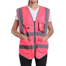 2019 uniformes de segurança Roupa de trabalho alta da visibilidade das mulheres cor-de-rosa da veste da segurança uniformes com bolsos T190622 uniformes de segurança barato