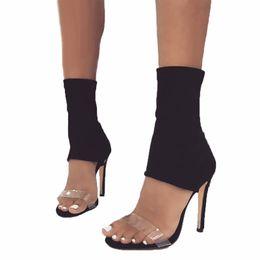 Canada Femmes Sandales De Mode Europ Marque Peep Toe Sangle PVC Cheville Talons Hauts Sandales Sandales Glissent Sur Sexy Élastique Sandales Parti Chaussures Habillées supplier elastic strap high heel sandals Offre